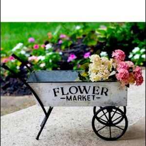 French inspired Floral wheel barrel